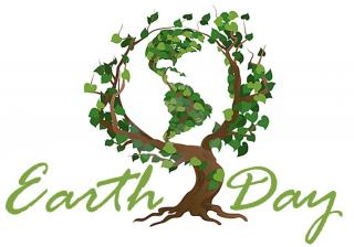A drawing of a tree and globe, and the words Earth Day in script below it.