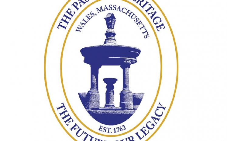 The seal of the Town of Wales, a picture of the Town Fountain