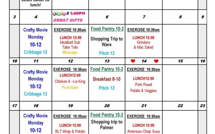 Senior Center Calendar